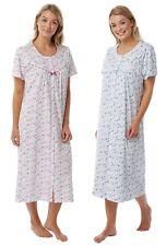 Womens Marlon Pure Jersey Cotton Button Through Short Sleeve Nightdress 20-22 Blue Floral
