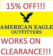 American Eagle COUPON 15% OFF - WORKS ON CLEARANCE!!! FAST DELIVERY EXP 10.30.20