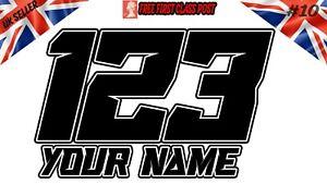 X3 Custom Race Numbers Name Stickers Motocross Kart Decal MX Dirt Bike Sticker10