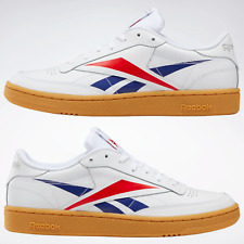 Reebok Club C 85 Mens Soft Leather Trainers in White Blue and Red