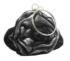 Brauttasche BIG ROSE schwarz Satin oder Tasche Abendmode Rundgriff