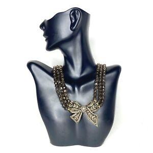 Heidi Daus Smoke Crystal Bow Necklace Statement Jewelry