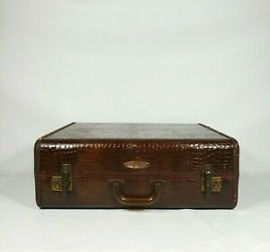 "Vintage Samsonite Brown Suitcase 21"" Antique Luggage 1930s 1940s Amber Handle"