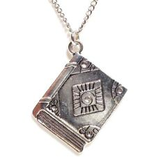 """BOOK OF SHADOWS_Pendant on 18"""" Chain Necklace_Wiccan Spells Witch Journal_376N"""