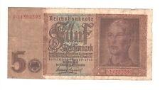 1939 Nazi Germany 5 Reichsmark banknote SWASTIKA