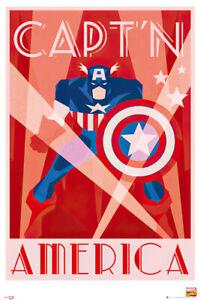 """Captain America - Comic Poster / Print (Retro Art Deco Design) (Size: 24"""" X 36"""")"""