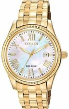 NEW CITIZEN LADIES WATCH GOLD TONE MARKERS & BAND EO1142-57D