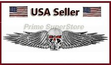 1 Chrome 3D Skull & Wings Red Eyes Emblem Self Adhesive 3 D Car Decal / Logo