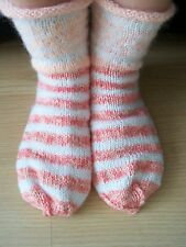 Hand knitted wool blend socks, white/pink/peach (size 10)