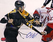 Chris Kelly Boston Bruins Signed Fight vs Hurricanes Brett Sutter Upclose 8x10