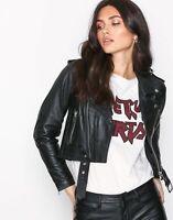 Womens Leather Jacket Black Cropped Biker Lambskin Size S M L XL XXL 3XL FF4