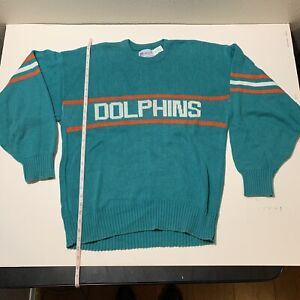 Vintage MIAMI DOLPHINS NFL CLIFF ENGLE SWEATER Large 1984 DAN MARINO FOOTBALL