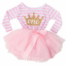 1st Birthday PINK white stripe tutu DRESS princess BIRTHDAY GIRL baby girl party