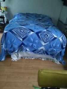 handmade Crochet  Afghan Blanket  HUGE 7ft x9ft !! blue and white