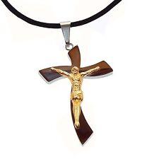 Kreuz Anhänger silber gold Edelstahl Jesus Christus Kruzifix mit Kette Schmuck