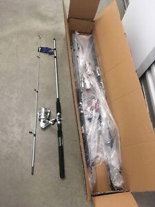 (3 Combo) Okuma Boundary 7' Spinning Rod Reel Pier Catfish Dealer Half Case
