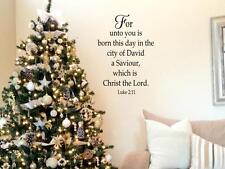 FOR UNTO YOU IS BORN Christmas Vinyl Wall Decal Quote Words Lettering Decor