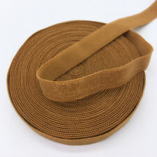 """5yds 3/8"""" Solid Fold Over Elastics Spandex Satin Band Lace Sewing Trim Brown"""