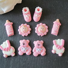 10 PINK ICED BABY GIRL CHRISTENING,BABY SHOWER CUPCAKE TOPPERS, CAKE DECORATIONS