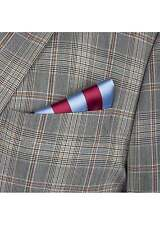 Claret & Blue Mens Striped Silk Pocket Square Handkerchief Hanky Wedding