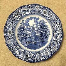"3 PCS Staffordshire Ironstone Liberty Blue Independence Hall Dinner 10"" Plates"
