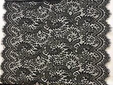 3 mtr of Wide black lace fabric trim, Double scallop with eyelash edges 79cm