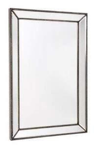 Zeta Silver Beaded Frame Decorative Wall Mirror Large - 40130