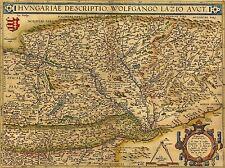 ART PRINT POSTER MAPPE vecchio vintage Ungheria Wolfgang lazius lfmp0853 austriaca