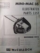 Mcculloch Chain Saw Mini Mac 35 Parts Manual 2 Cycle Gasoline Chainsaw 1973