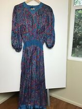 Vintage 80s Diane Freis Blue Green Purple Red Sequin Beaded Cocktail Party Dress