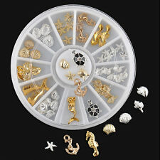 3D Beach Nail Art Decoration Ocean Alloy Jewelry Glitter Rhinestones +Wheel SEVC