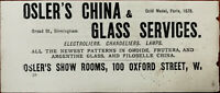 Osler's Show Rooms Oxford Street. Osler's China & Glass Services Vintage Ad 1884