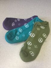 3 Pack Maggies Organic Youth Socks Plum Teal Olive Peace Sign Footie  NWT  5-10y