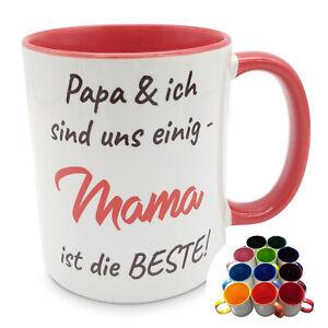 Mama ist die Beste - Tasse - 12 Farben Kaffeebecher Kaffeetasse Geschenk