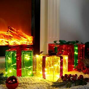 Set of 3 Light Up Christmas Gift Boxes Outdoor Lighted Christmas Decorations