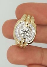 1.45 CT. 14K YELLOW GOLD ROUND DIAMOND SOLITAIRE w/ ACCENTS MENS SIGNET RING VS
