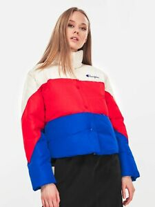Champion Cropped Oversized Patchwork Jacket Women's Creamy Red Blue Puffer