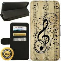 Flip Wallet Case For iPhone 7 / 7 Plus-Card Holder+Stand-Musical Notes