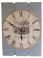 Large Vintage Rectangular Dusky Blue French Wall Clock 39cm high by 29cm wide