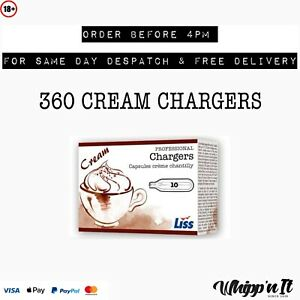 360 Whipped Cream Chargers Liss Mosa Whippers NOS N2O Canisters Gas FREE DEL