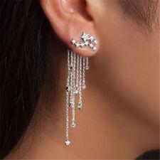 Silver Crystal Rhinestone Star Long Tassel Drop Dangle Stud Earrings Jewelry