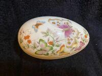 Vtg 1974 Avon Porcelain Butterfly Fantasy Egg Trinket Box 22K Gold Trim Japan