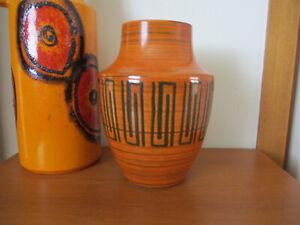 Vintage West German Pottery Vase Geometric Raised Pattern 129-23