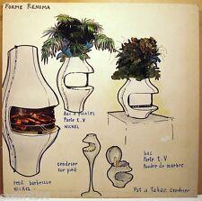 DESIGNER Pierre POTHIER DESSIN PROJET DESIGN 60 ligne RENOMA cheminée cendrier