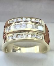 14k Solid Yellow gold men's diamond  ring  Vs quality 3 rows Channel set
