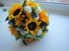 Silk Wedding Rose Bouquet Posy Sunflowers & Roses Handtied Bride Artifical