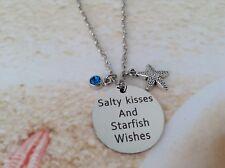 NAUTICAL STAINLESS STEEL DISC SEA BLUE RHINESTONE STARFISH CHARM BEACH PENDANT