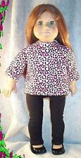 """Doll Clothes Made 2 Fit American Girl 18"""" in Leggings Tunic Leopard Black Pink"""