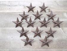 "15 Rustic Star Nails Craft Pins 3 1/2"" Cast Iron Decorative Wall Decor Texas"