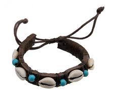 Bracelet brésilien amitié fil tresse cuir perles de coquillage cauris-BB417-FS5A